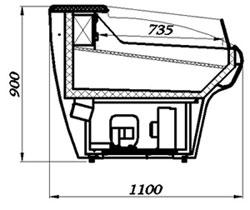 Холодильная витрина для продажи рыбы Carboma BXCл-1,5 (схема устройства)