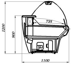 Холодильная витрина Carboma BXCр-1,5 (схема)